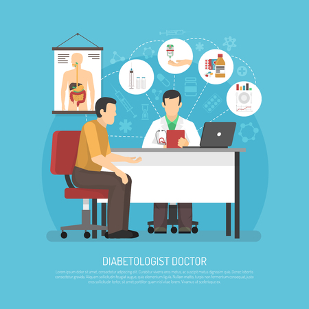 Diabetes treatment vector illustration with patient in doctors office on reception at endocrinologist flat vector illustration Illustration