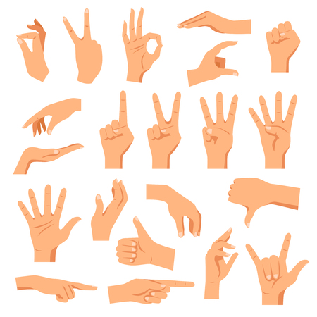 forefinger: Set of hands in different gestures emotions and signs on white background isolated vector illustration