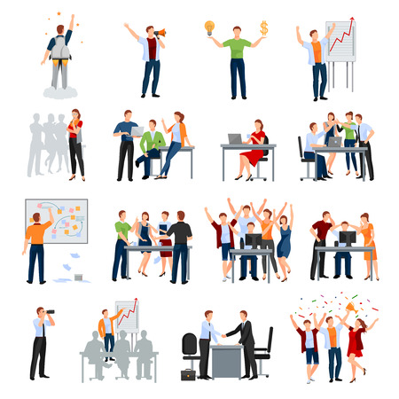 Business start-up werk momenten platte pictogrammen collectie met vergadering planning presentatie brainstorming teamwork en succes geïsoleerde vector illustratie