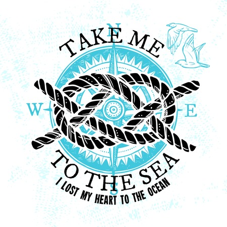 braided: Nautical sketch sign with marine rope knot gull and blue compass isolated vector illustration