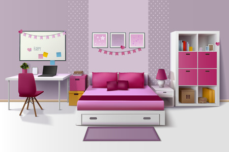 Young Teenager Room Interior Design With Bed Computer Table And ...