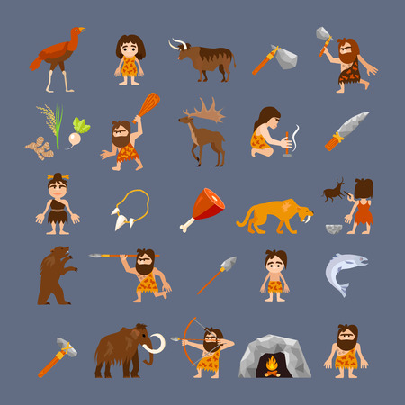 animals collection: Ancient flat icons collection with caveman weapons food animals and tools isolated vector illustration
