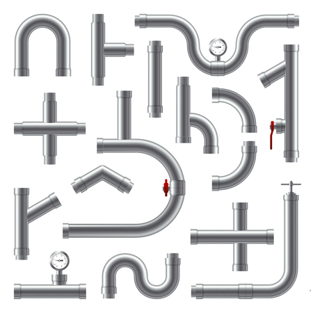 conveniences: Pipes metal realistic set in different shape isolated vector illustration Illustration
