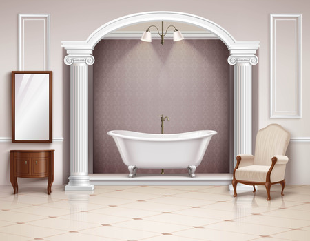 white bathroom: Beautiful luxurious bathroom interior with victorian columns furniture and white clawfoot bathtub realistic design vector illustration