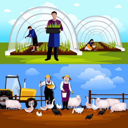 forcing: Forcing tunnel planing gardeners and sheep and  geese feeding farmers 2 flat horizontal banners isolated vector illustration