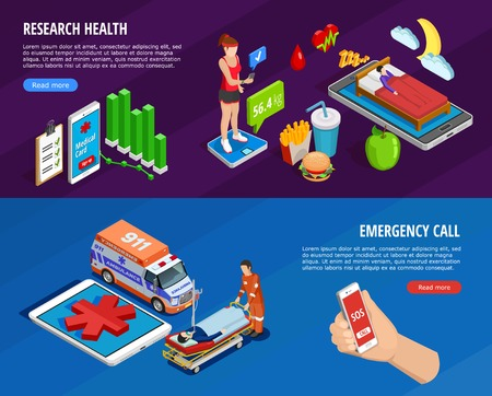 Digital medical isometric horizontal banners with the state of health monitoring by modern technologies vector illustration