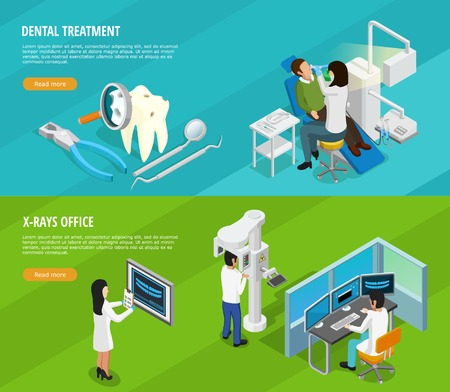 medical cure: Dental isometric horizontal banners with doctors patients instruments and medical cure of teeth vector illustration