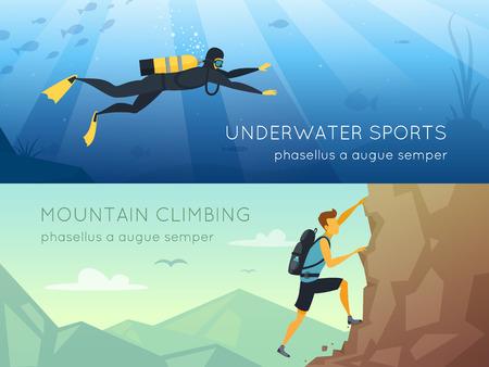 Extreme Sport 2 flache horizontale Banner Banner mit Unterwasser-Tauchen und Berge Klettern isoliert Vektor-Illustration