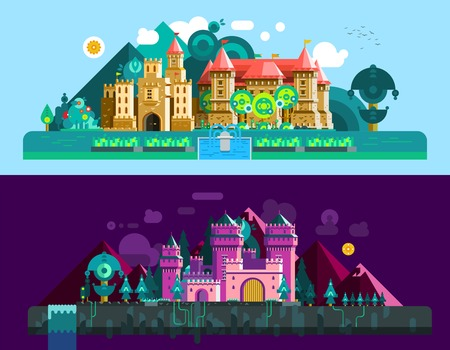 Castles horizontal banners with colorful antique palace and mansion in day and night time isolated vector illustration