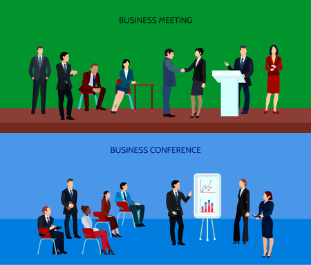 group strategy: Business people group horizontal banners at meeting discussing project and strategy of company development vector illustration
