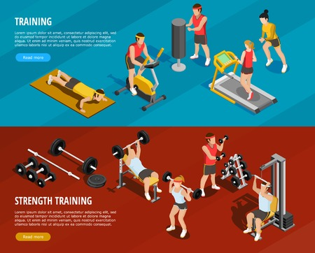 Sports training horizontal banners with power and running exercises in flat style vector illustration