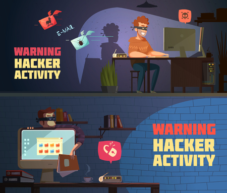 criminal activity: Warning hacker activity 2 retro cartoon horizontal banners with criminal breaking computer security passwords isolated vector illustration