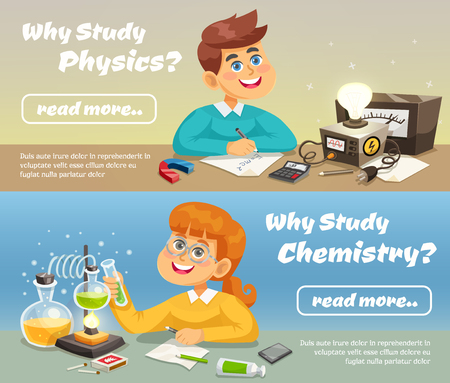 experimento: Ciencia banners horizontales con niños sonrientes que estudian las materias escolares en la ilustración vectorial de estilo plano