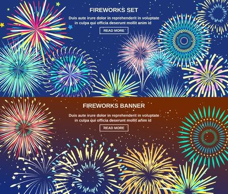 celebração: Celebration horizontal banners with bright colorful lights of exploding fireworks at night flat vector illustration