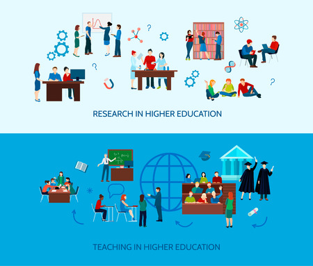 University learning horizontal banners with studying students and search of information in flat style vector illustration