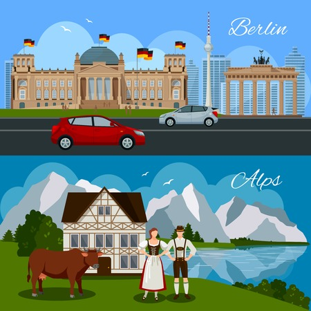 beautiful landscape: Germany flat composition with government building monument cars Brandenburg gate and picturesque beautiful landscape vector illustration Illustration