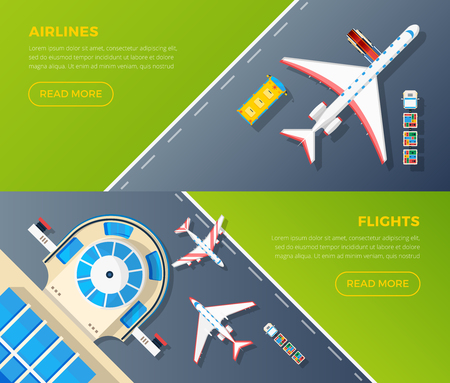 airlines: Airport 2 top view banners set design for airlines internet webpage with flights information isolated vector illustration