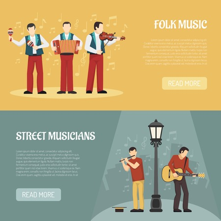 People playing musical instruments two horizontal banners with street musicians and folklore performers flat vector illustration Illustration