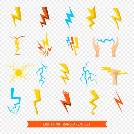 Flat set of bright colorful lightnings and fireball isolated on transparent background vector illustration Illustration