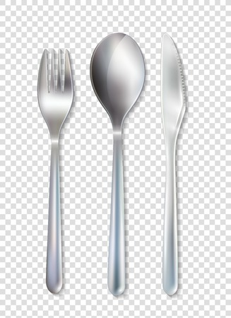 Stainless cutlery tableware set of fork spoon and knife realistic image with transparent background vector illustration Illustration