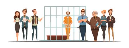 Ley y justicia cartel de dibujos animados retro con el anuncio de la sentencia y convict detrás de barras ilustración vectorial de fondo blanco