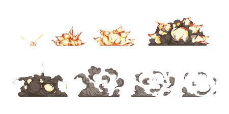 detonation: Bomb explosion process animation icons set from detonation to blast heat and shock waves isolated vector illustration Illustration