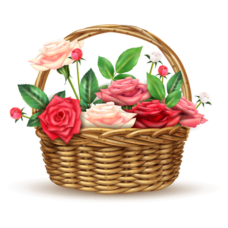 Beautiful flowers basket arrangement full with fine fresh roses for special occasions realistic close-up image vector illustration