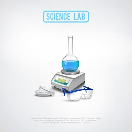 balanza de laboratorio: composición de los equipos de laboratorio con las escalas científicas profesionales y vasos de los vasos químicos ilustración vectorial plana