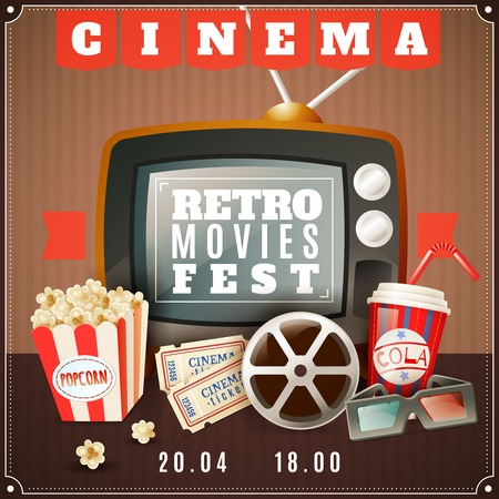 retro glasses: Retro movies festival announcement poster with old tv  3d glasses and classic cinema theater attributes vector illustration