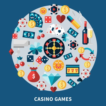 Casino icons round composition with chips cards coins dice cherry clover diamond symbols flat vector illustration