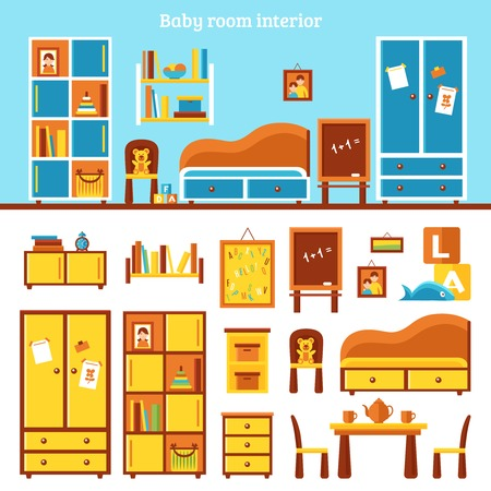 Baby room furniture infographics with interior of nursery and kit of subject of furniture for play and study flat vector illustration