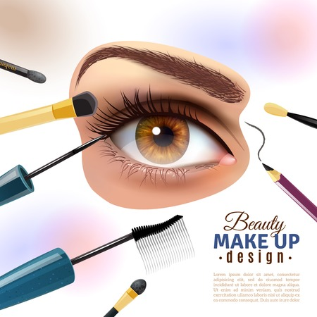 brows: Applying eye makeup beauty tips pictorial infographic poster with putting eyelid base and eyeliner blurred background vector illustration Illustration