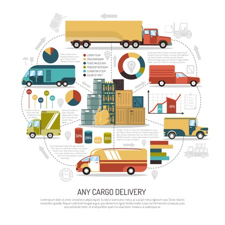 any size: Big and small trucks delivering cargo of any size flat vector illustration Illustration