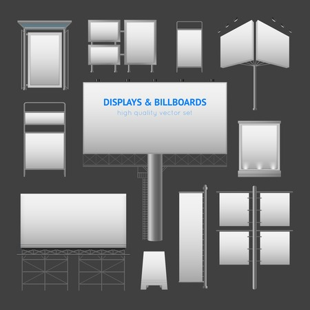 displays: Outdoor advertisement elements with displays boxes and billboards templates in gray colors isolated vector illustration