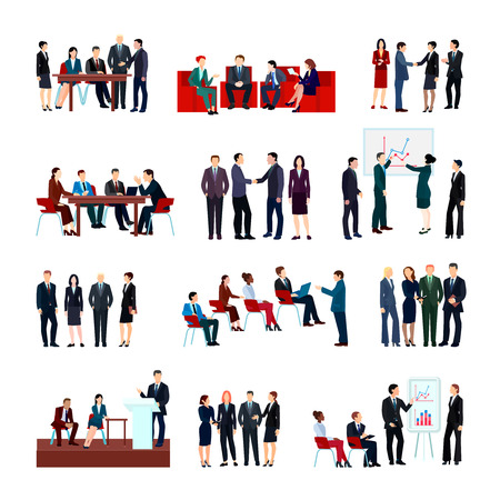 Business meetings set of employees and partners at conference briefing seminars in flat style isolated vector illustration Illusztráció