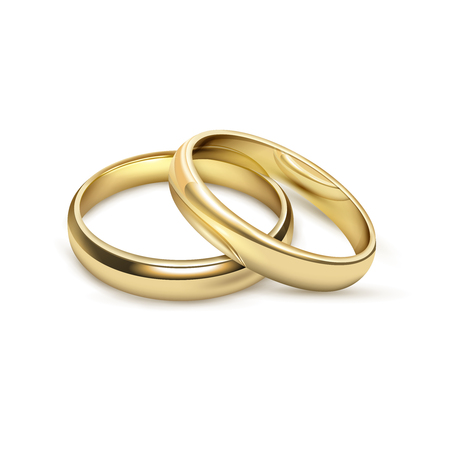 Two matching bridal wedding or engagement traditional gold rings set jewelry advertisement icon realistic vector illustration Stock Vector - 66601234