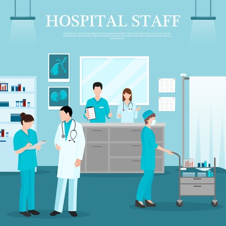 medical assistant: Medical staff template with doctor nurse assistant reception in clinic in flat style vector illustration