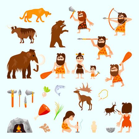 vlakke pictogrammen stenen tijdperk set met holbewoner dieren gereedschap voedsel stam vreugdevuur jacht sculptuur geïsoleerd vector illustratie