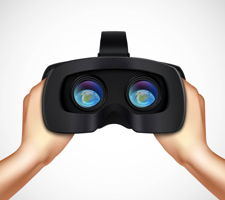 virtual reality simulator: Hands holding virtual augmented reality headset for computer games simulators and training realistic closeup image vector illustration Illustration
