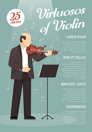 virtuoso: Music advertising poster with virtuoso of violin image and information about concert date flat vector illustration