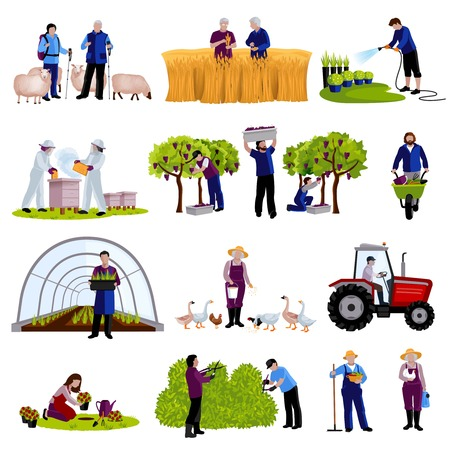 herder: Farmers and gardeners work moments harvesting  fruits raising cattle and trimming plants flat icons set isolated vector illustration