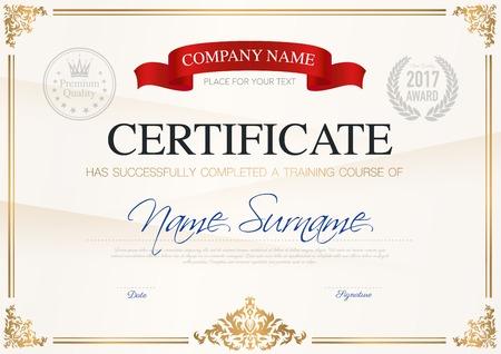 Certificaat van voltooiing sjabloon met lint lichte achtergrond en plaats voor uw tekst vectorillustratie