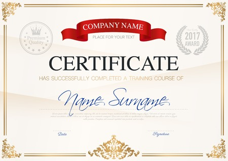 Certificate of completion template with ribbon light background and place for your text vector illustration