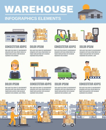 stacking: Warehouse infographics flat layout with cargo transport fork lift racks with boxes scales  images and information vector illustration