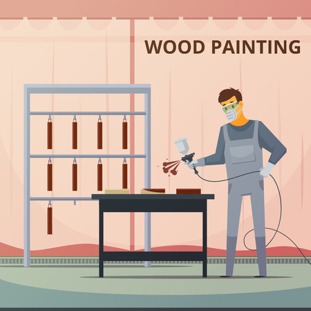 wood furniture: Professional woodwork painter spraying acrylic paint over wood furniture parts for smooth finish flat poster vector illustration