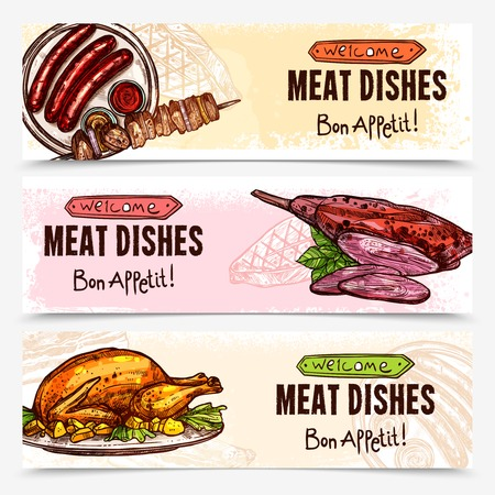 grill meat: Hand drawn meat horizontal banners with chicken barbecue sausages grill roast dishes vector illustration Illustration