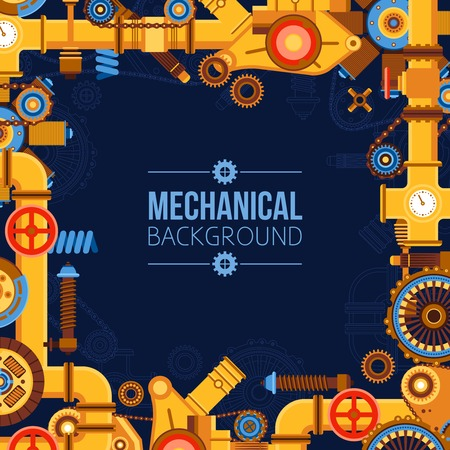 Machinery parts background with metal pipeline gears manufacturing tools chain wheels valves vector illustration