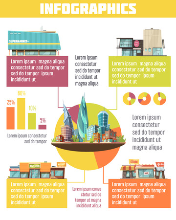 outdoor goods: Store buildings infographic set with supermarket symbols cartoon vector illustration Illustration