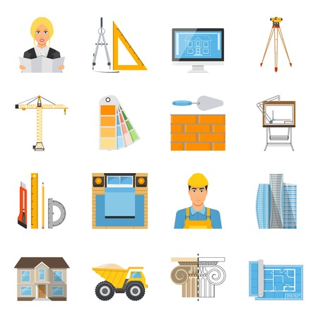 drafting: Architect flat colored icons collection with tools for measurement and drafting brick wall  crane facade decor elements isolated vector illustration Illustration