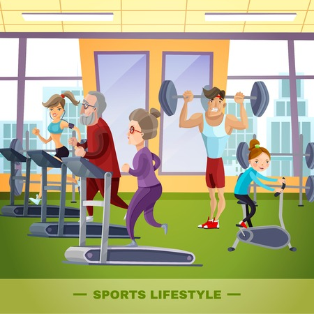 Rodziny sportowe płaski szablon z ojca matka dziadek babcia i dziecko w ilustracji wektorowych siłowni